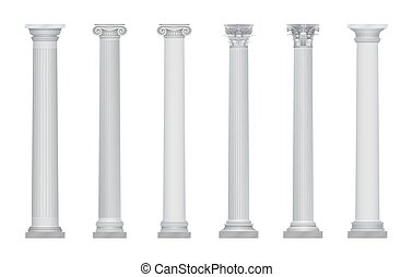 ベクトル, 古代, 現実的, コラム, set., 首都, ギリシャ語, ローマ