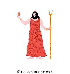 ベクトル, 古代, 英雄, hades, ギリシャ語, olympian, イラスト, 神, ギリシャ, 神話
