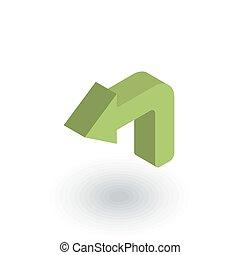 ベクトル, 回転, icon., 左向き矢印, 平ら, 等大, 3d