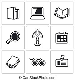 ベクトル, 図書館, icons., イラスト