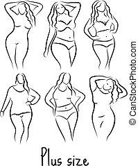 ベクトル, 図画, モデル, イラスト, style., プラス, overweight., アイコン, ロゴ,...