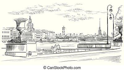 ベクトル, 図画, 手, 10, petersburg, st.