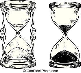 ベクトル, 図画, 砂時計, セット, 砂, 2, 型
