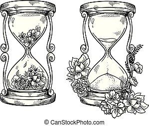 ベクトル, 図画, 砂時計, セット, 花, 砂, 2, 型