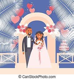 ベクトル, 地位, 平ら, 花嫁, 花婿, スタイル, love., illustration., 結婚式, 漫画, 下に, シンボル, 特徴, 幸せな カップル, アーチ, 新婚者
