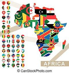 ベクトル, 地図, の, アフリカ, ∥で∥, 旗