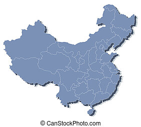 ベクトル, 地図, の, 中華人民共和国, (prc)