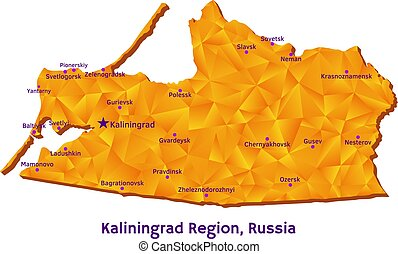 ベクトル, 地図, の, kaliningrad, 地域, ロシア