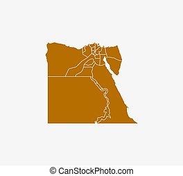 ベクトル, 地図, エジプト, illustration., 州, ボーダー, map.