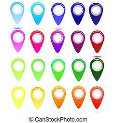 ベクトル, 地図, セット, ポイント, 矢, オブジェクト, 地図, 多彩, infographics, 噛み合いなさい, デザイン, 網, シンボル, アイコン, 世界, グロッシー
