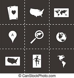 ベクトル, 地図, セット, 黒, アイコン