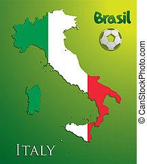 ベクトル, 地図, ペーパー, イタリア, カード