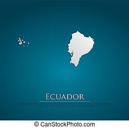 ベクトル, 地図, ペーパー, エクアドル, カード