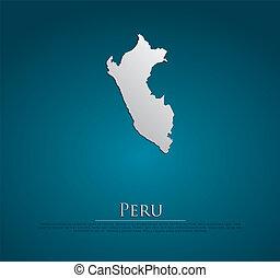 ベクトル, 地図, ペーパー, ペルー, カード