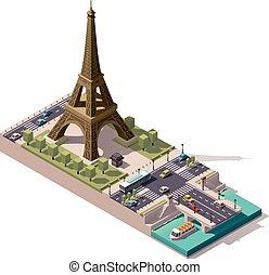 ベクトル, 地図, 等大, eiffel タワー