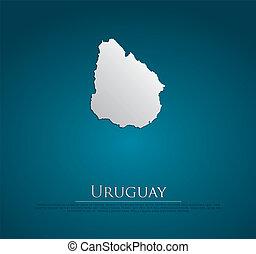 ベクトル, 地図, 紙カード, ウルグアイ