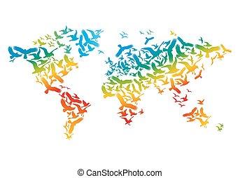 ベクトル, 地図, 鳥, 飛行, 世界