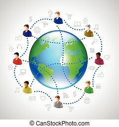 ベクトル, 地球, 概念, ネットワーク, 人々