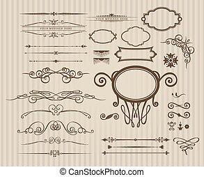 ベクトル, 型, セット, 要素, calligraphic