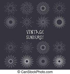 ベクトル, 型, セット, handdrawn, sunbursts