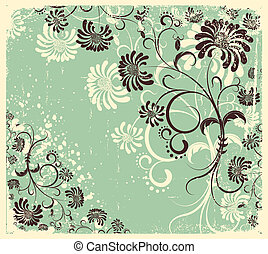 ベクトル, 型, 花の 装飾, .flowers, 背景, 上に, 古い, 手ざわり