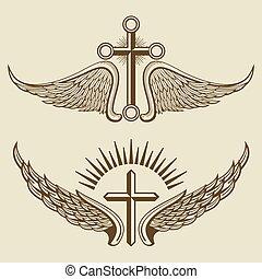 ベクトル, 型, 要素, 交差点, 翼
