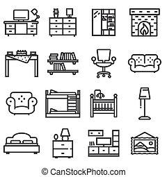 ベクトル, 基本, 家具, アイコン, セット, 中に, 薄いライン, スタイル