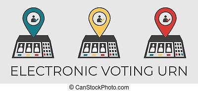 ベクトル, 壷, 電子, 投票, 平ら, イラスト