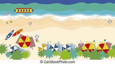 ベクトル, 夏, ココナッツ, 概念, 傘, サーフボード, ヒトデ, 平ら, 旅行, 木, スタイル, イラスト, ボール, 位置, 背景, 浜
