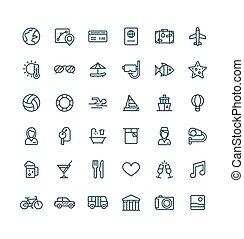 ベクトル, 夏, セット, 手荷物, アウトライン, アイコン, 休暇, pictogram, ホテル, symbols., サービス, 薄くなりなさい, 部屋, サングラス, 線, 旅行, 観光事業, 線である