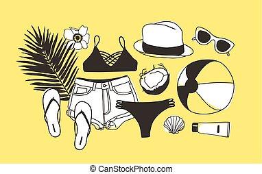 ベクトル, 夏, ファッション, 芸術, work., drawing., pattern., doddle, イラスト, 手, バックグラウンド。, オブジェクト, 芸術的, インク, 引かれる, 創造的, ttropical, 季節