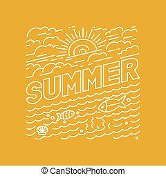 ベクトル, 夏, ポスター