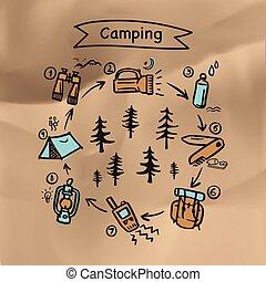 ベクトル, 夏, 山, キャンピングテント, poster., 背景, キャンプファイヤー, 松, 岩が多い, 森林,...