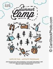 ベクトル, 夏, 山, テント, poster., 背景, キャンプ, キャンプファイヤー, 松, 岩が多い, 森林,...