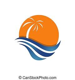 ベクトル, 夏, 日当たりが良い, デザイン, トロピカル, テンプレート, ロゴ, 浜, イラスト