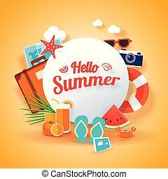 ベクトル, 夏, 浜。, 季節, オブジェクト, イラスト, 印, 要素, 背景, 旗, template., こんにちは