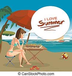 ベクトル, 夏, umbrella., illustration., 平ら, 彼女自身, 下に, 若い, ライナー, ビキニ, 女, チェス, 海, 巡航, モデル, 遊び, 浜, 漫画, 風景