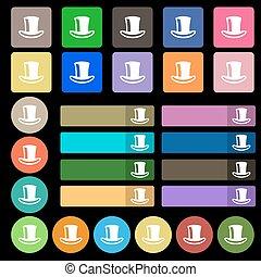 ベクトル, 多色のハット, 印。, buttons., アイコン, セット, シリンダー, 7, 20, 平ら