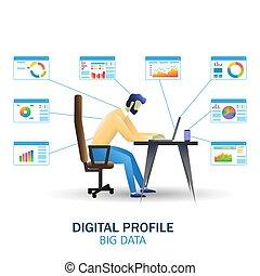 ベクトル, 大きい, ウェブサイト, web ページ, 概念, 技術, 旗, データ