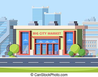 ベクトル, 大きい, カラフルである, 都市, 市場, 平ら, イラスト