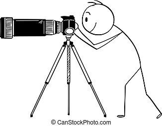 ベクトル, 大きい, ズームレンズ, 長い間, ∥あるいは∥, レンズ, カメラ, 三脚, カメラマン, 人, 漫画, 望遠レンズ