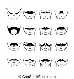 ベクトル, 大きい, セット, 情報通, mustache.