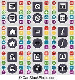ベクトル, 大きい, ソケット, セット, 情報, 有色人種, 平ら, 媒体, lan, 家, ラップトップ, ボタン, 止まれ, avatar, 本, プレーヤー, 窓, アイコン, あなたの, シンボル。, design.