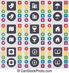 ベクトル, 大きい, ソケット, セット, 有色人種, 平ら, wineglass, umrella, 鳥, 家, 建物, ボタン, 本, コンパス, 地図, アイコン, あなたの, シンボル。, design.