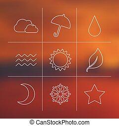 ベクトル, 天候, セット, アイコン