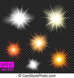 ベクトル, 太陽, セット, 透明