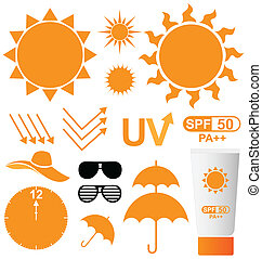 ベクトル, 太陽 セット, uv 保護
