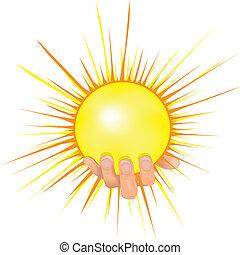ベクトル, 太陽, 手, illustration., 人々