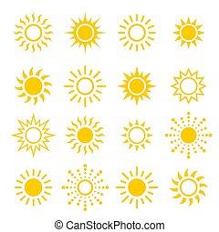 ベクトル, 太陽, 日光, セット, 現代