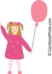 ベクトル, 女の子, わずかしか, ピンク, balloon., イラスト